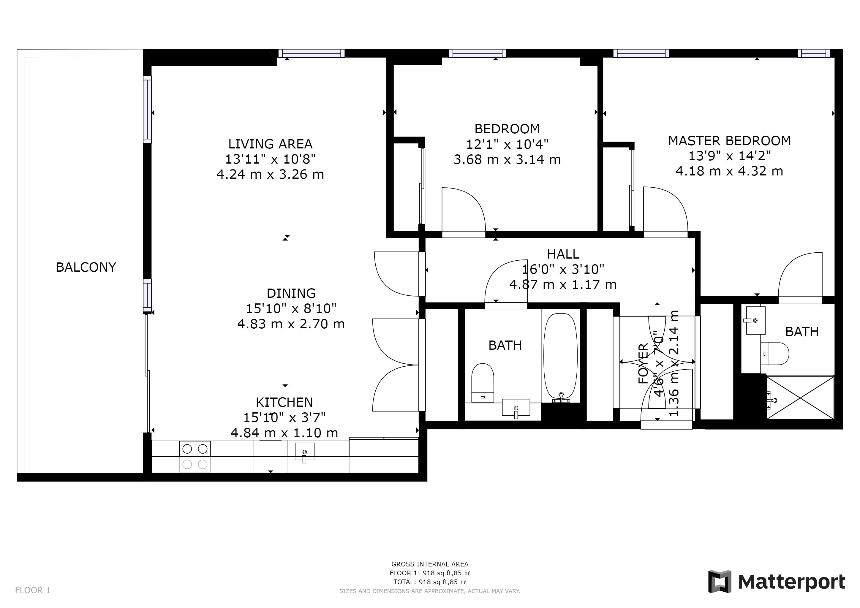 2 bed flat for sale in Caithness Walk - Property Floorplan