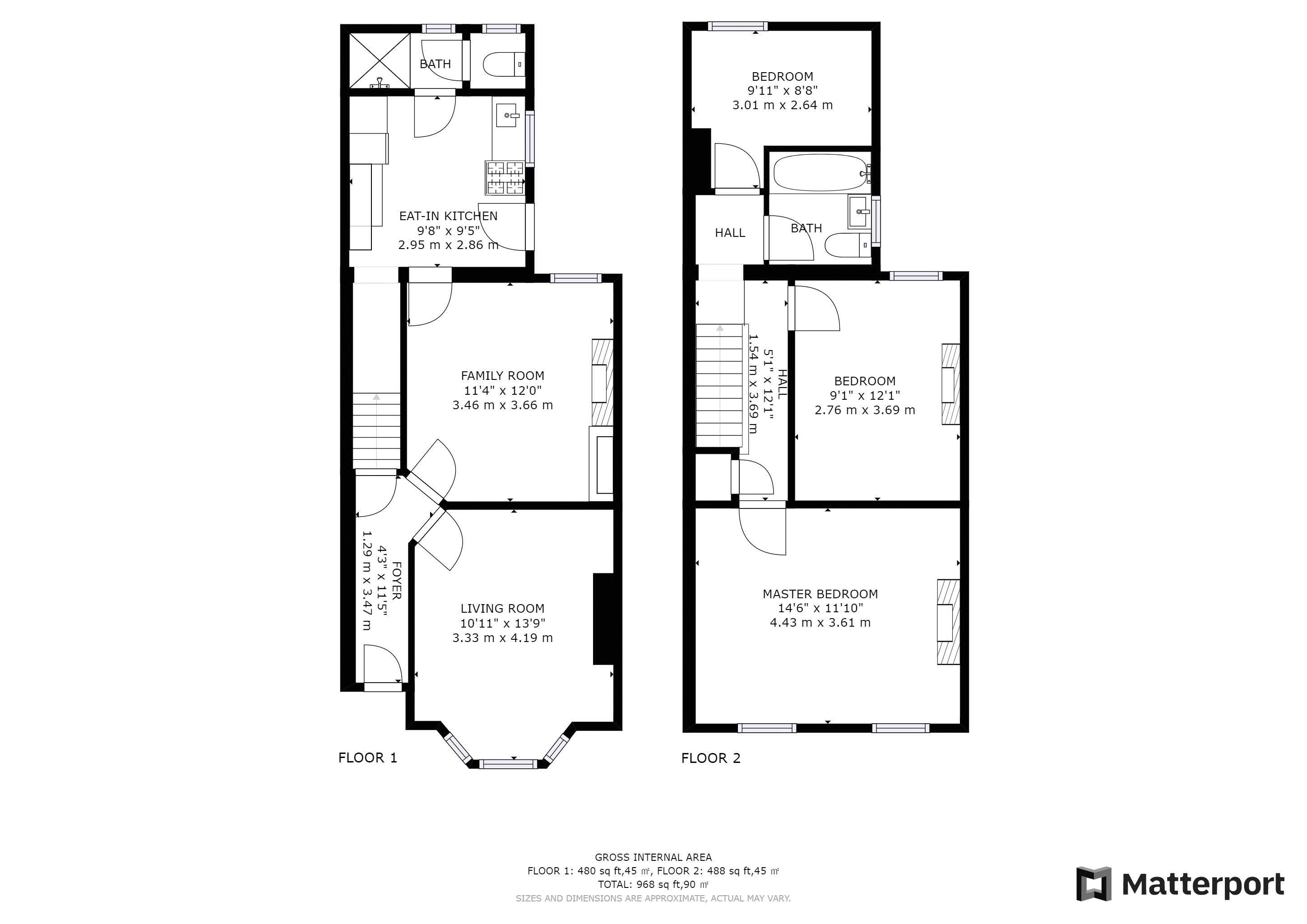 3 bed house for sale in Hampton Road - Property Floorplan