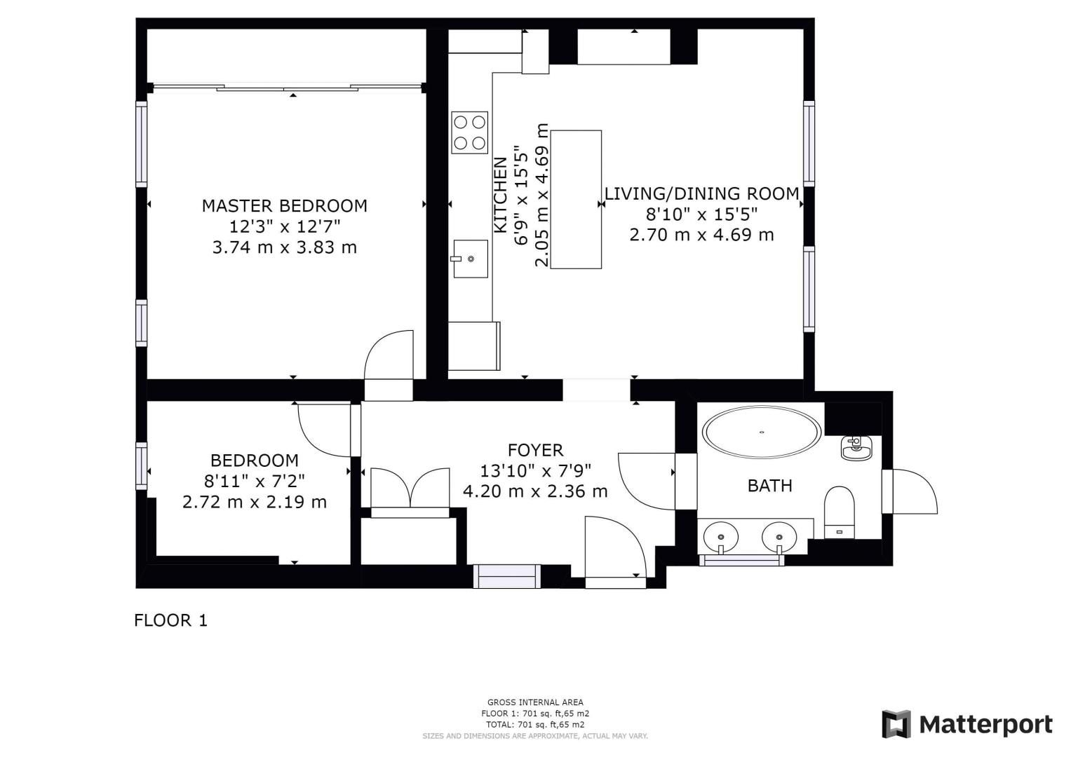 2 bed flat for sale in Outram Road - Property Floorplan