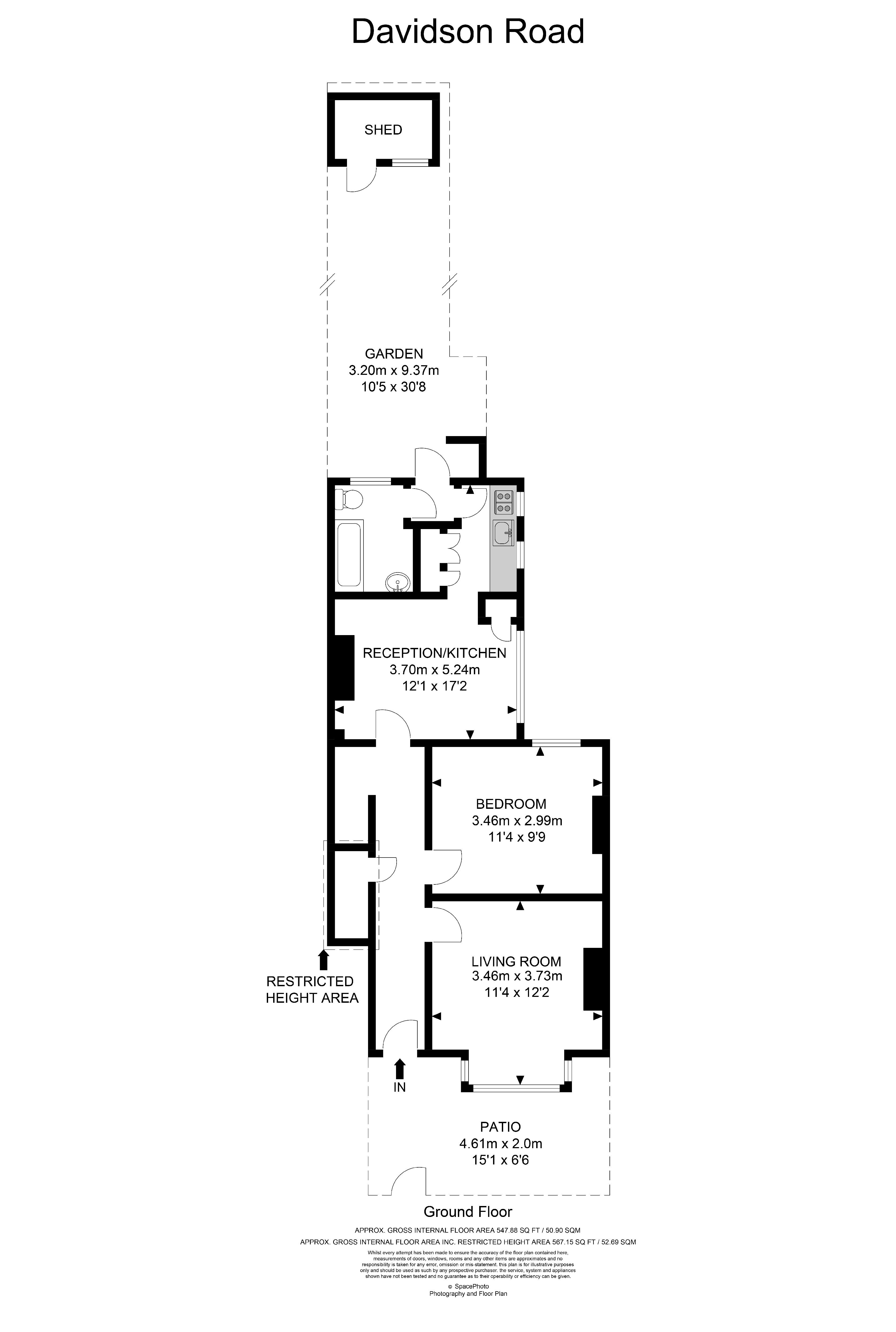 1 bed flat for sale in Davidson Road - Property Floorplan