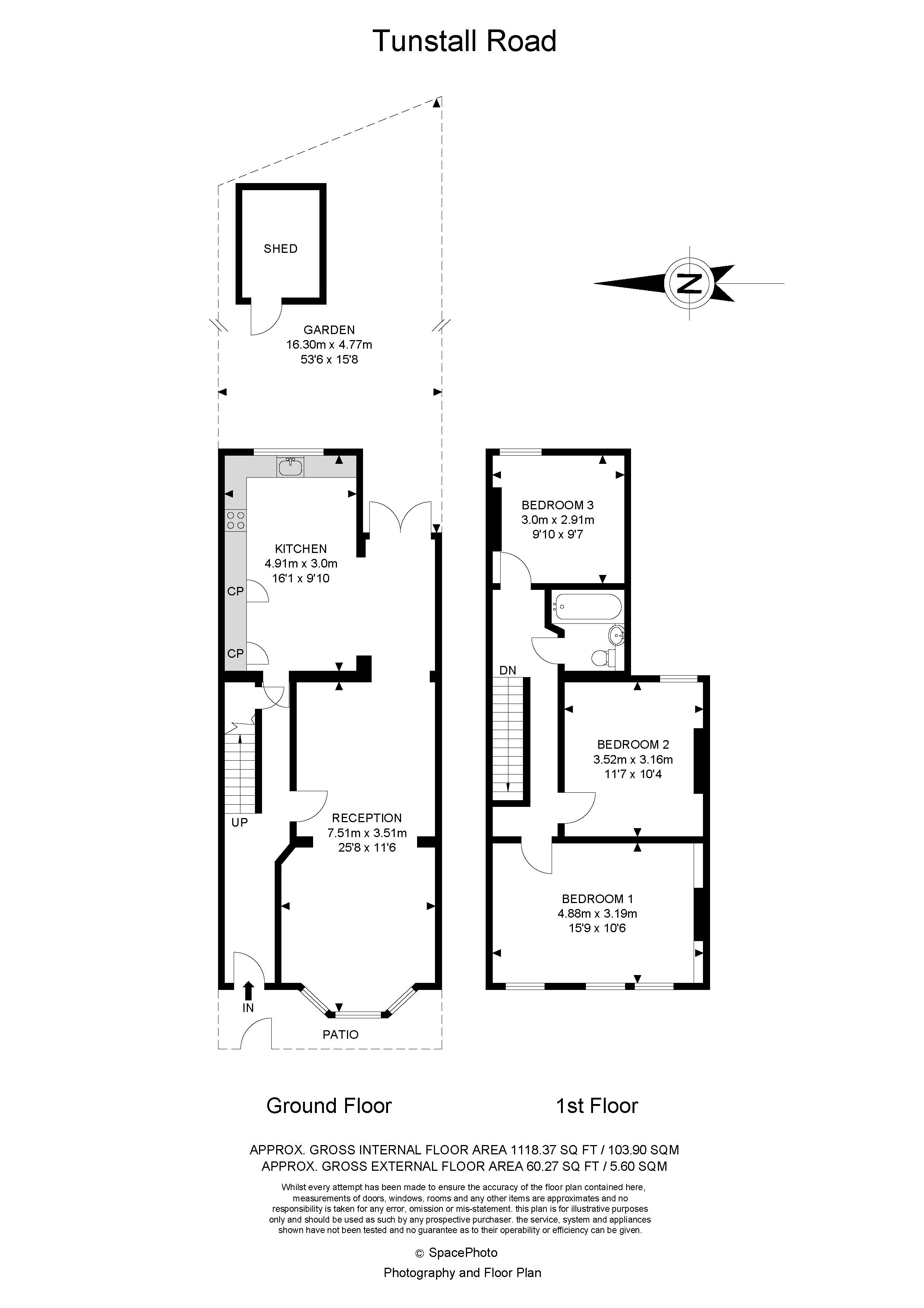 3 bed house for sale in Tunstall Road - Property Floorplan