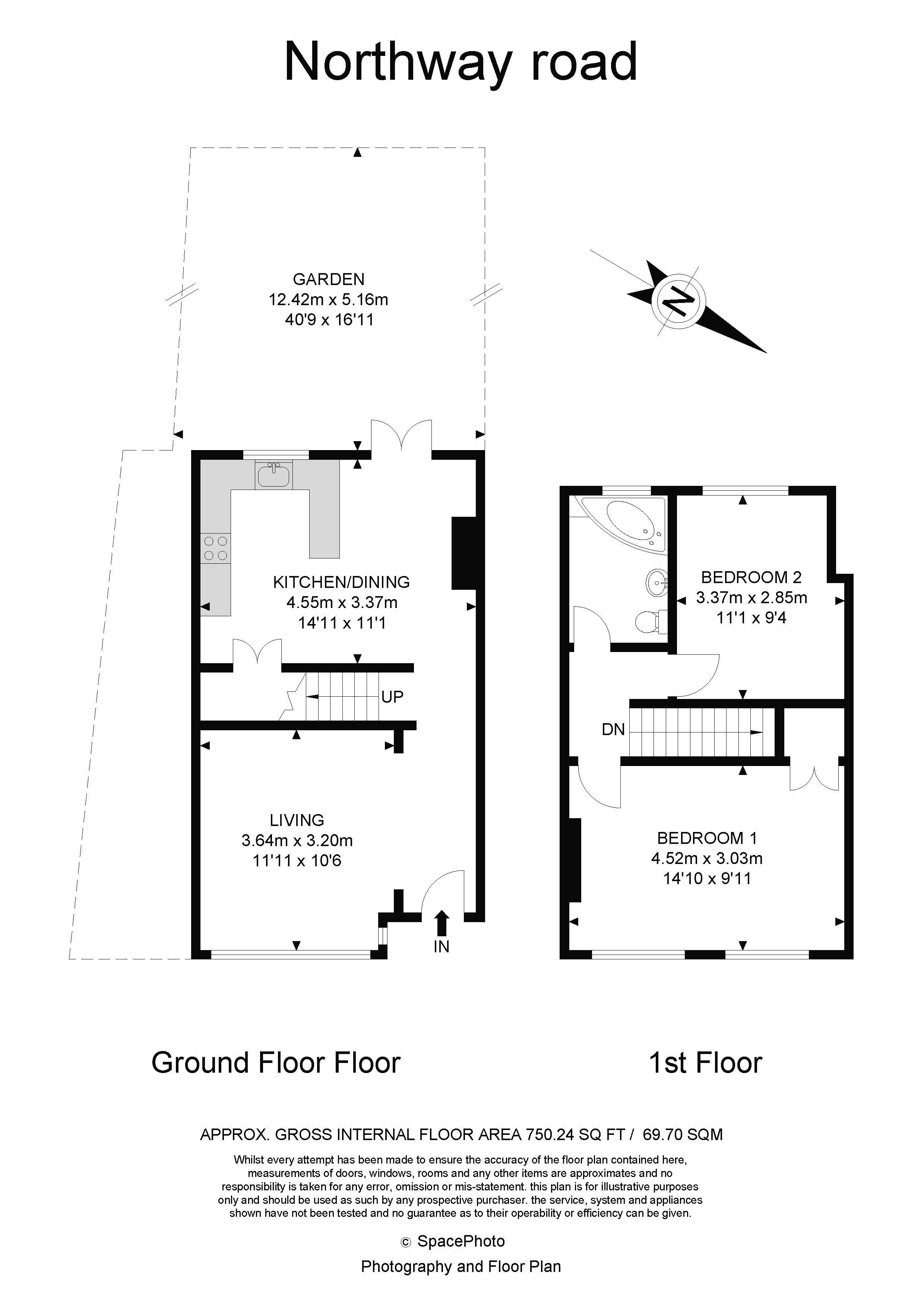 2 bed house for sale in Northway Road - Property Floorplan