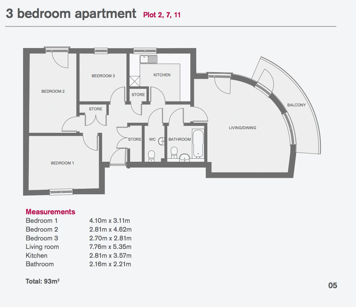 3 bed flat for sale in Stafford Road - Property Floorplan