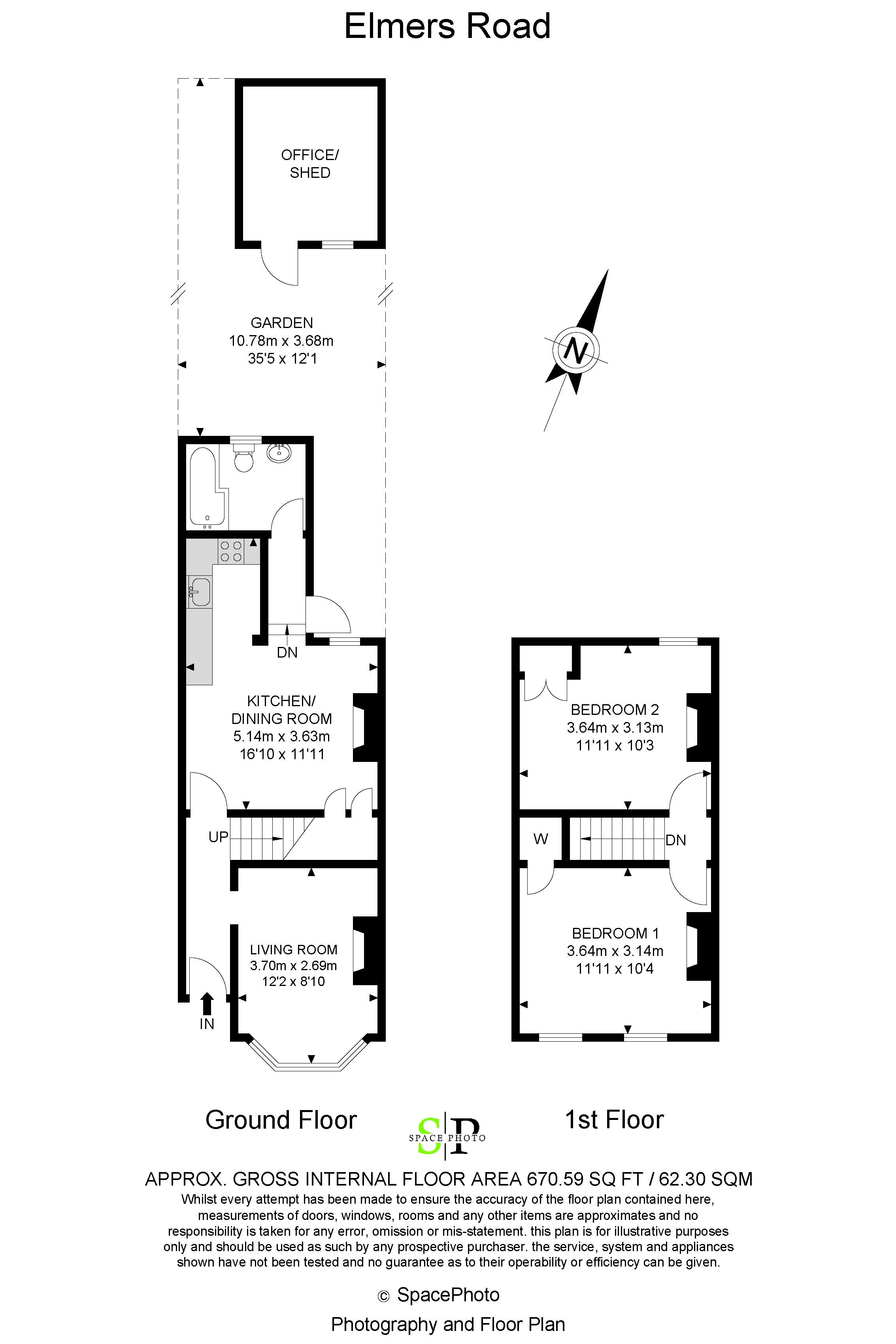 2 bed house for sale in Elmers Road - Property Floorplan
