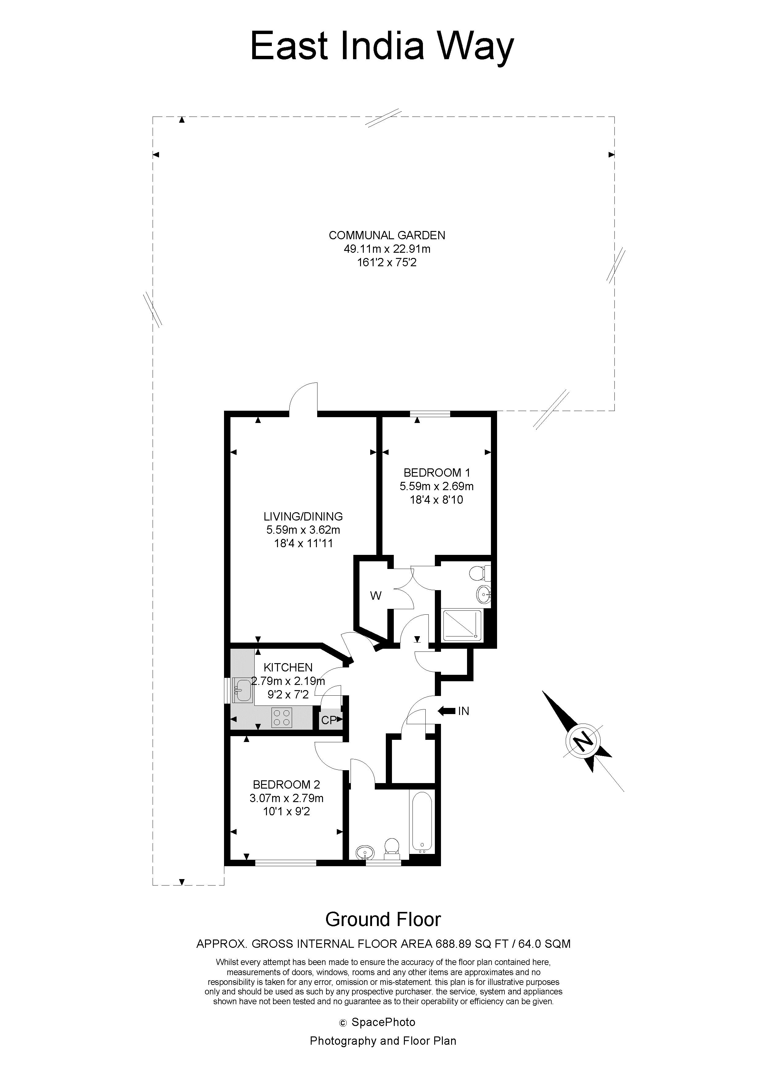 2 bed flat to rent in East India Way - Property Floorplan