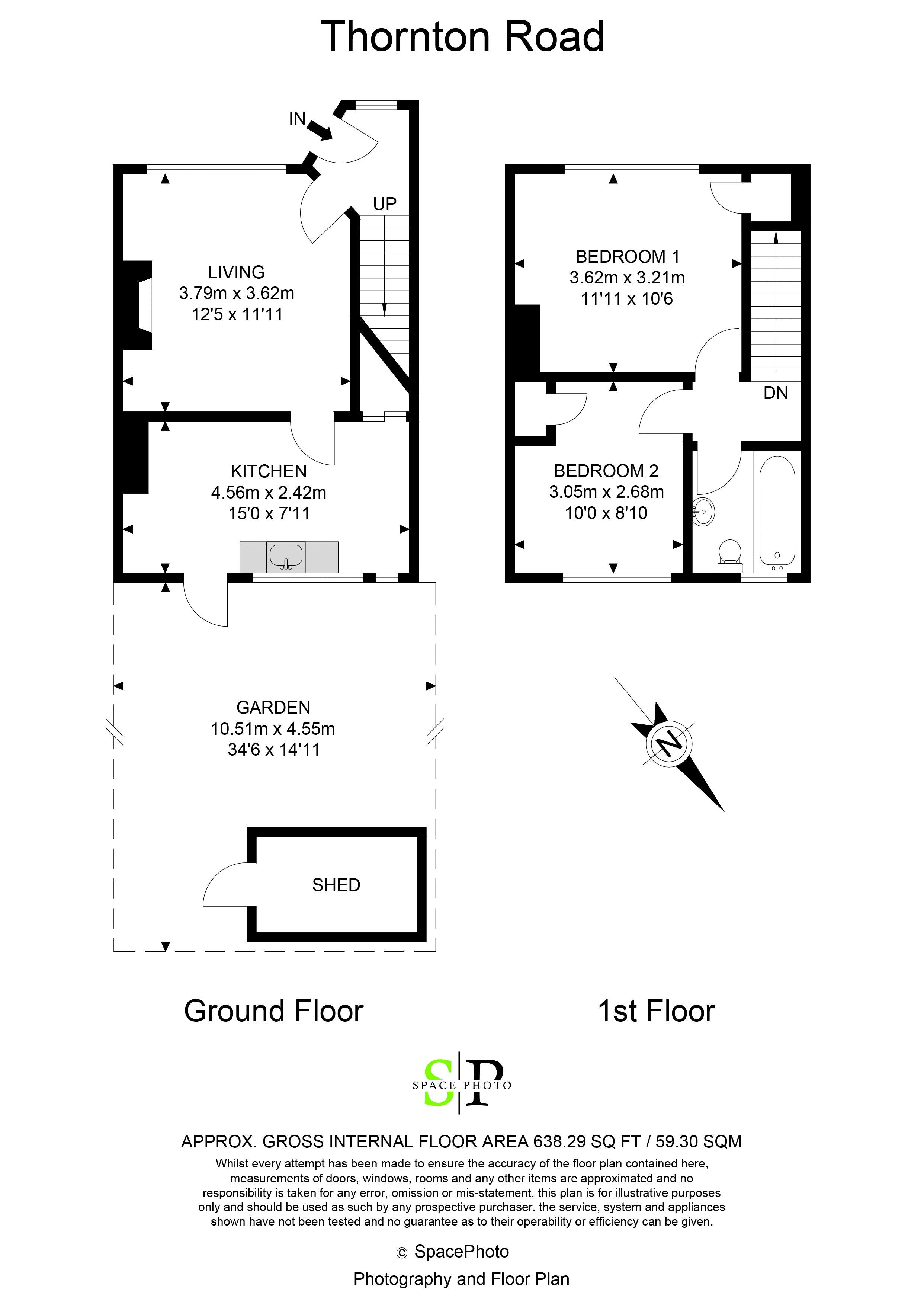 2 bed house for sale in Thornton Road - Property Floorplan