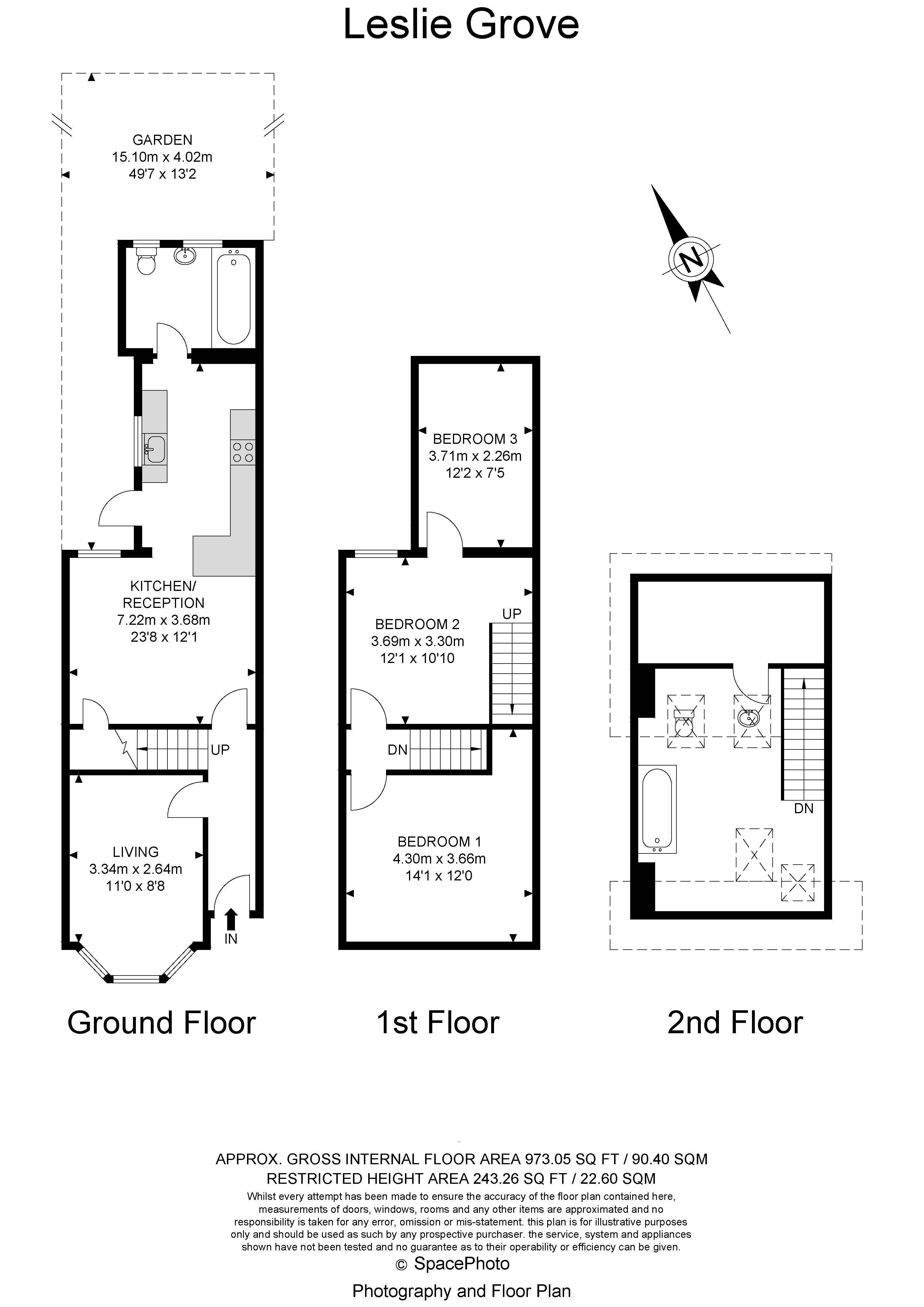 3 bed house for sale in Leslie Grove - Property Floorplan