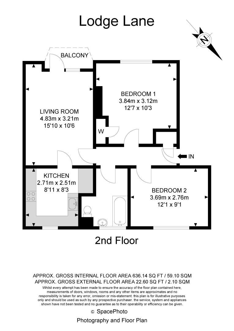 2 bed flat for sale in Lodge Lane - Property Floorplan