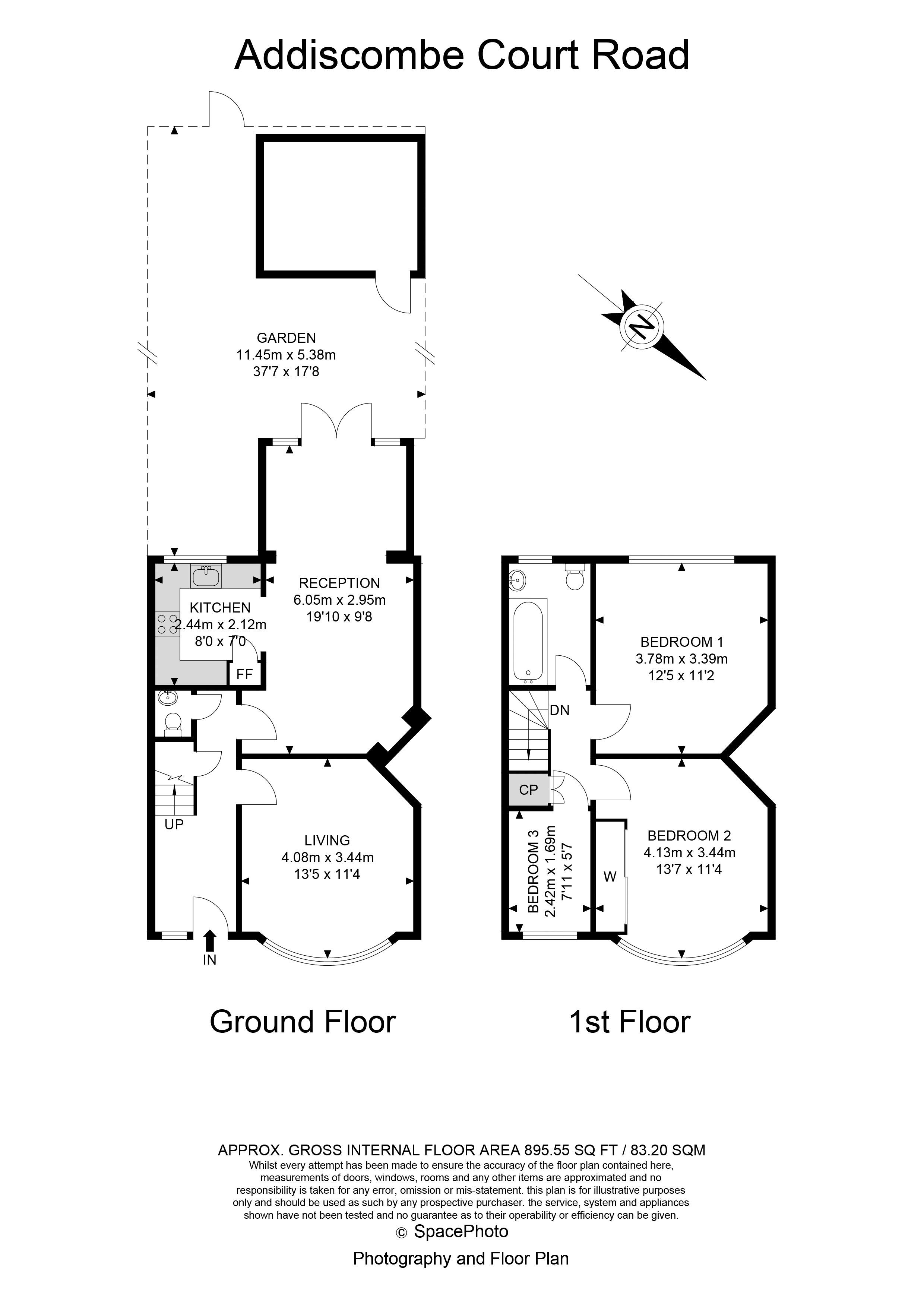 3 bed house for sale in Addiscombe Court Road - Property Floorplan