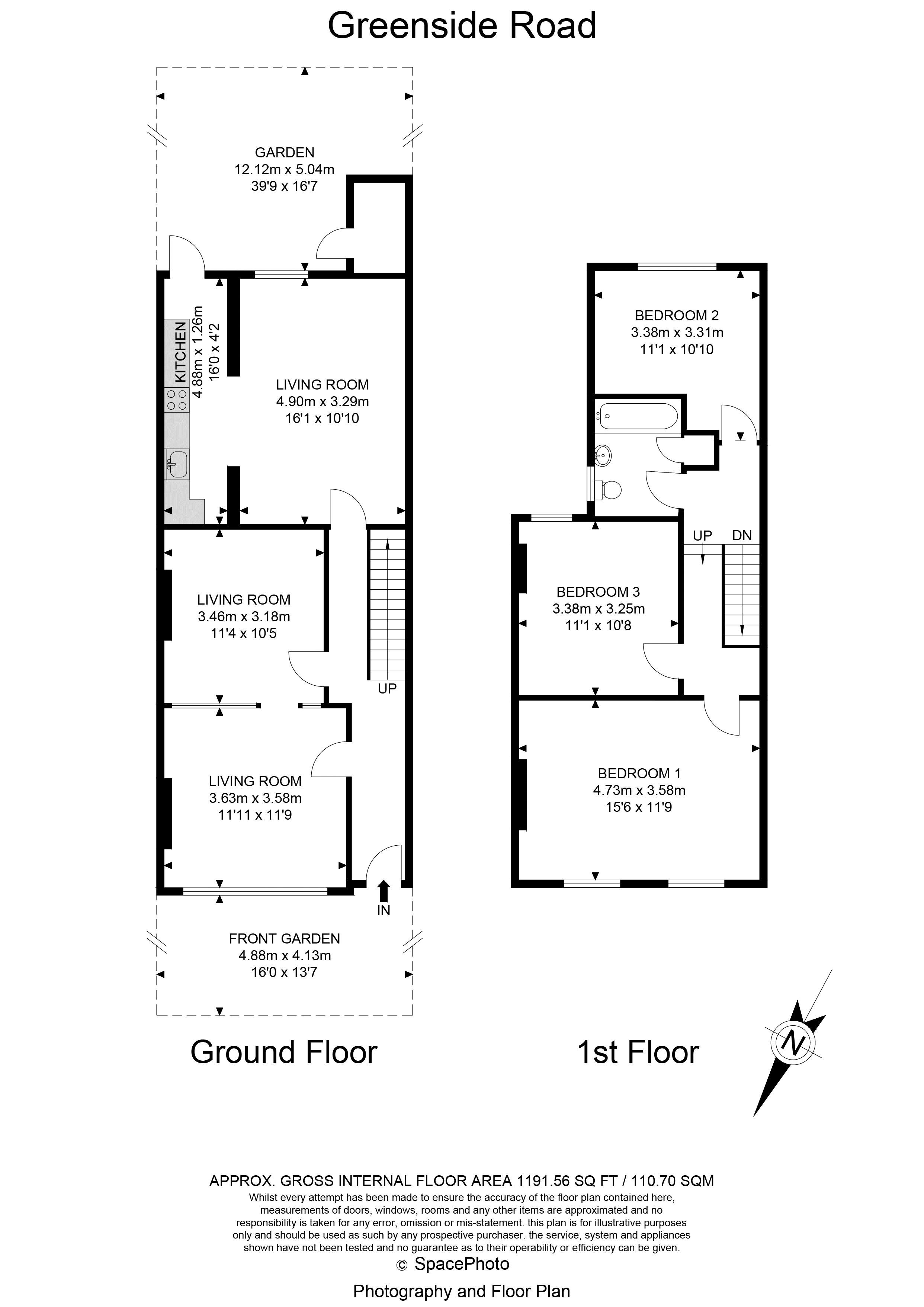 3 bed house for sale in Greenside Road - Property Floorplan