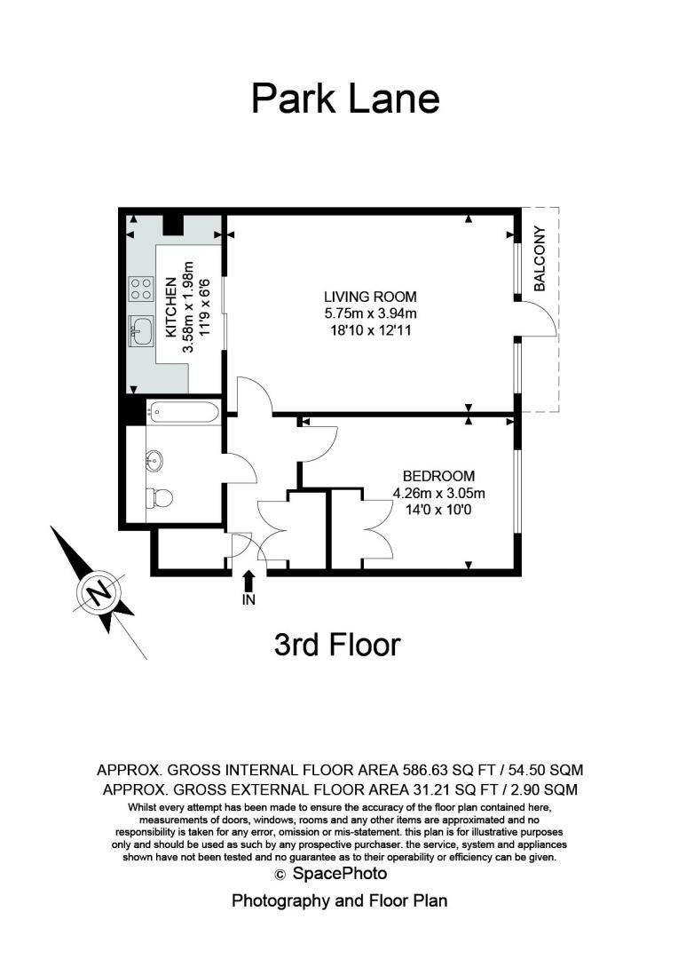 1 bed flat for sale in 82 Park Lane - Property Floorplan