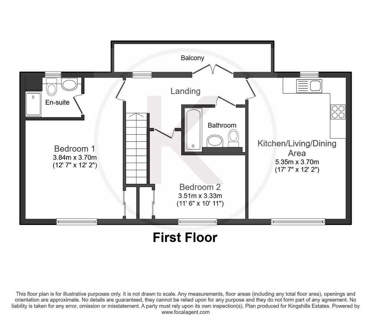 2 bed flat for sale in Eaker Street, High Wycombe - Property Floorplan