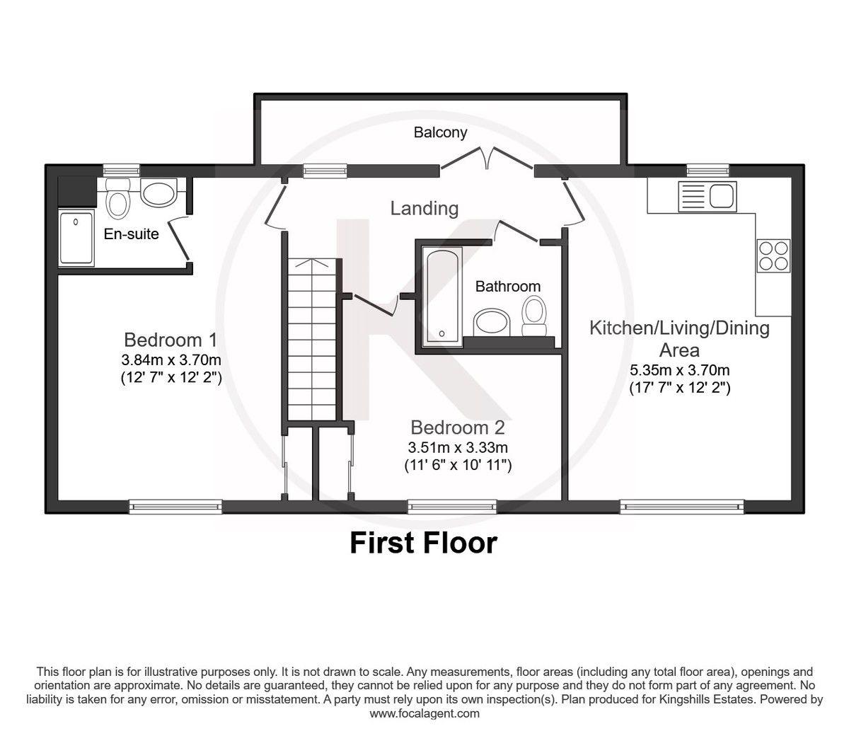 2 bed flat for sale in Eaker Street, High Wycombe - Property Floorplan