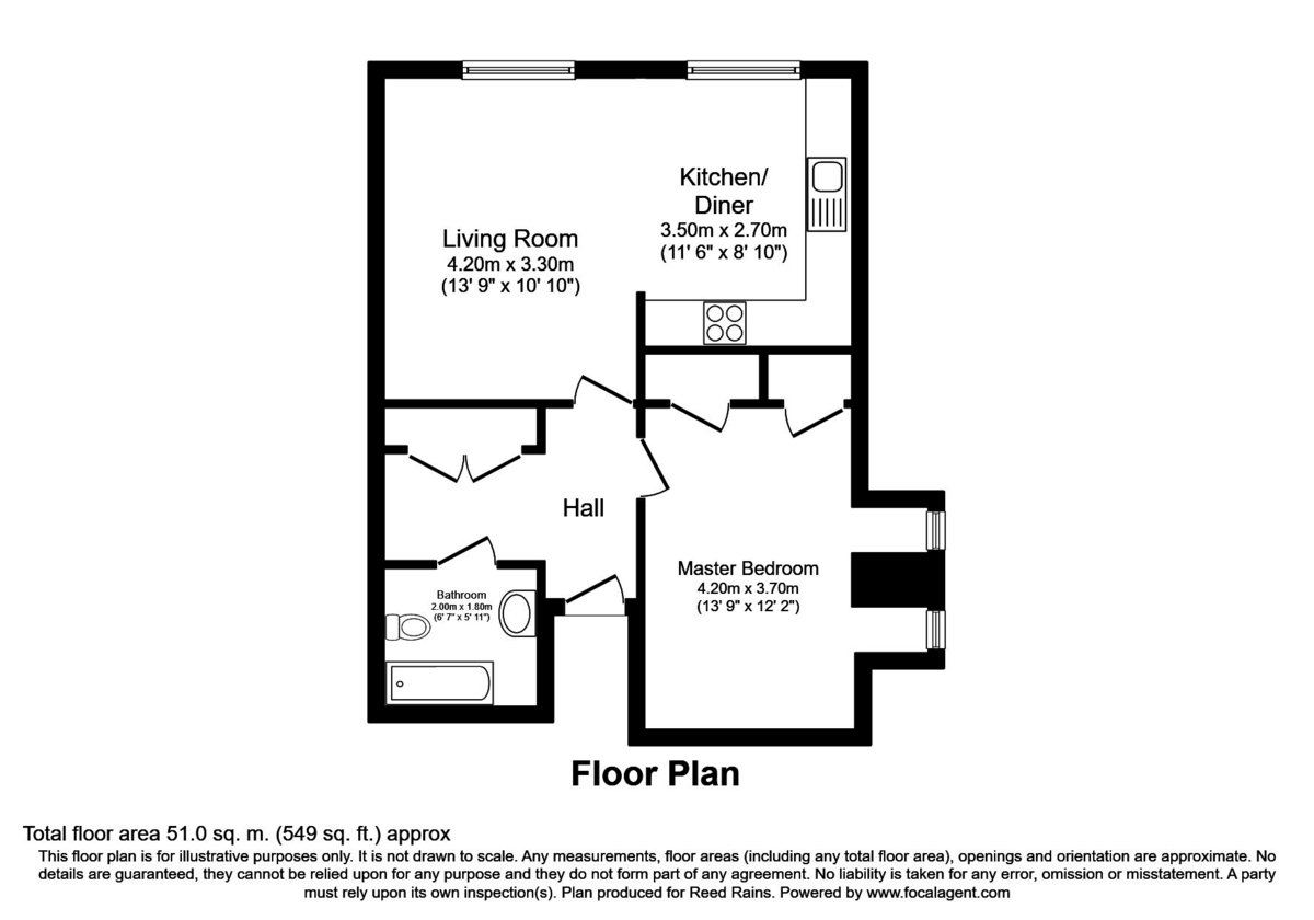 1 bed flat for sale in Eden Gardens, 179 West Wycombe Road - Property Floorplan