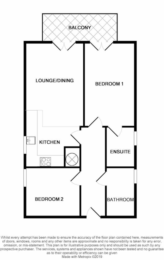 2 bed flat for sale in West Wycombe Road, High Wycombe - Property Floorplan