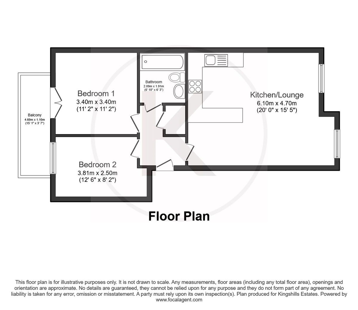 2 bed flat for sale in Freer Crescent, High Wycombe - Property Floorplan