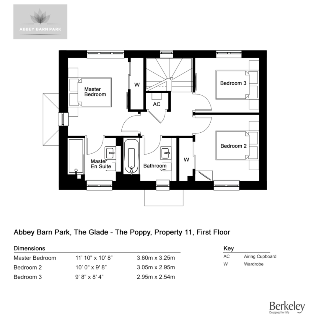 3 bed house for sale in The Poppy, Abbey Barn Park - Property Floorplan