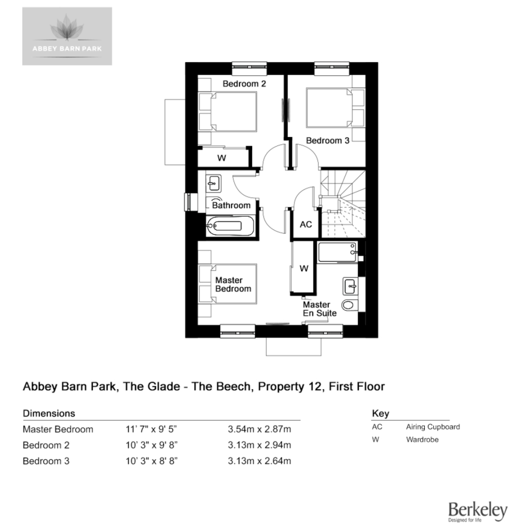 3 bed house for sale in Plot 41 Abbey Barn Park - Property Floorplan