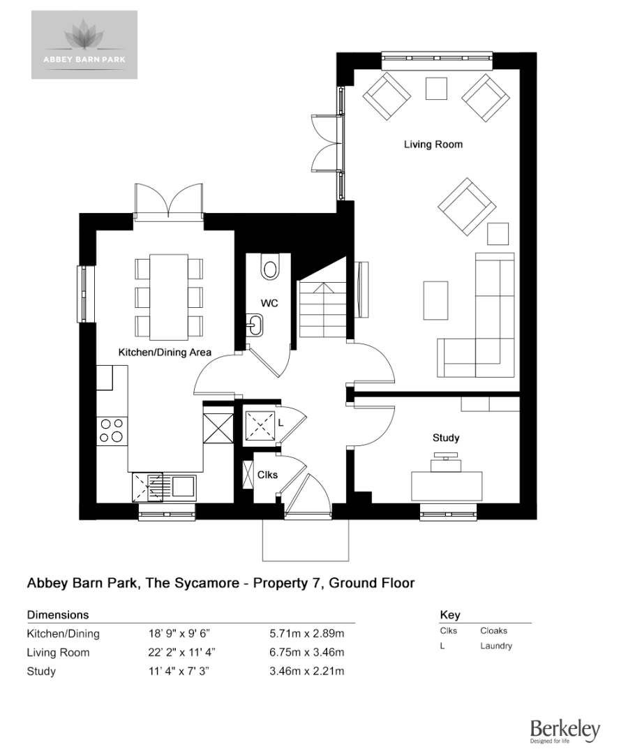 3 bed house for sale in The Sycamore, Abbey Barn Park - Property Floorplan