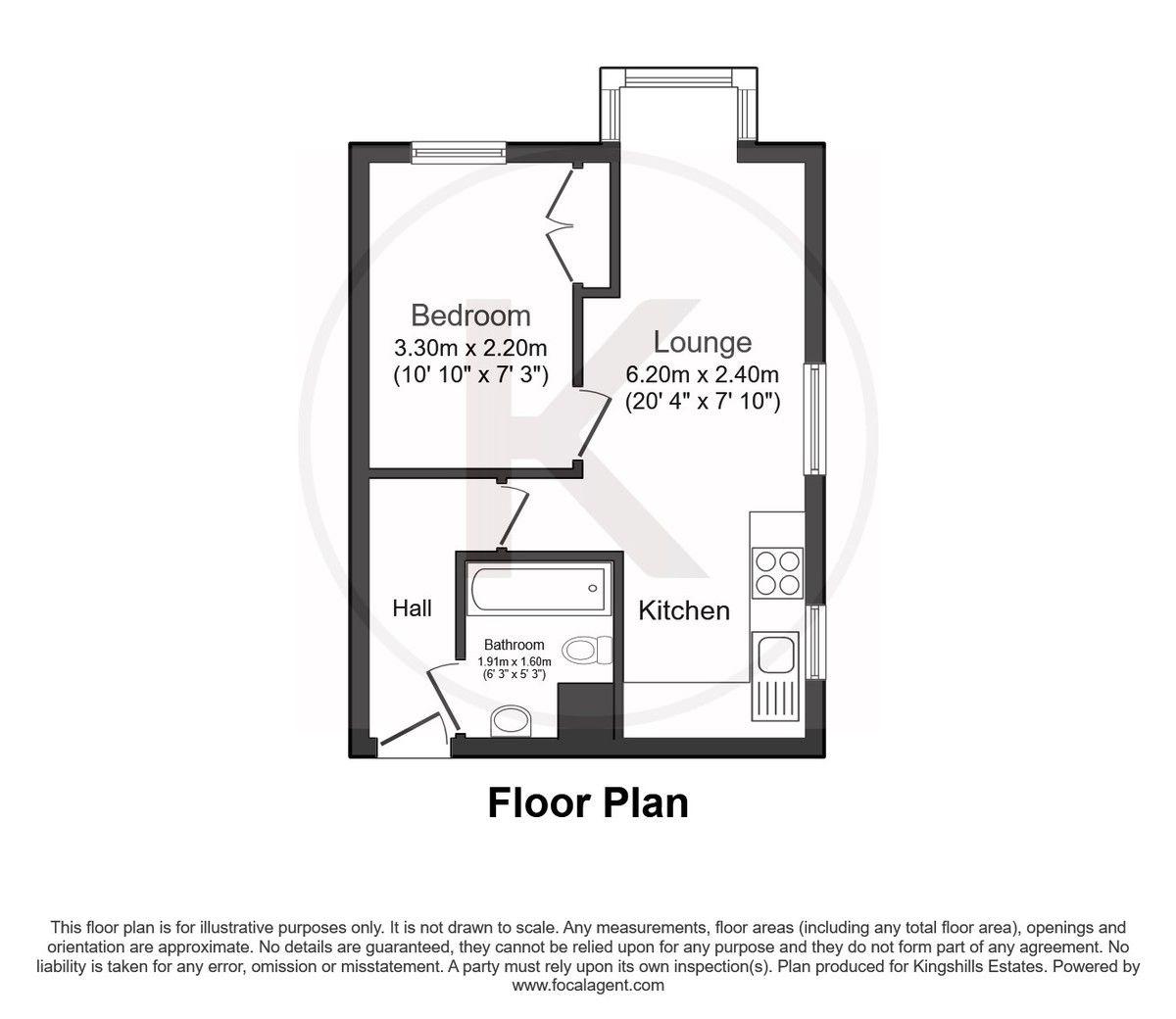 1 bed flat for sale in Fryers Court, Eaton Avenue - Property Floorplan