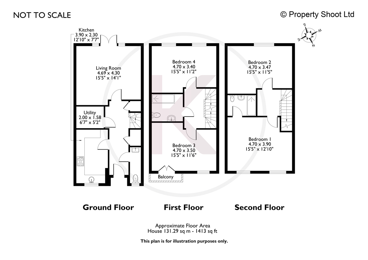 4 bed house for sale in Kingsmead Road, High Wycombe - Property Floorplan