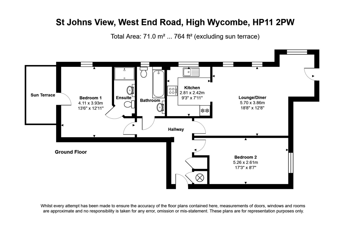 2 bed flat for sale in St Johns View, West End Road - Property Floorplan