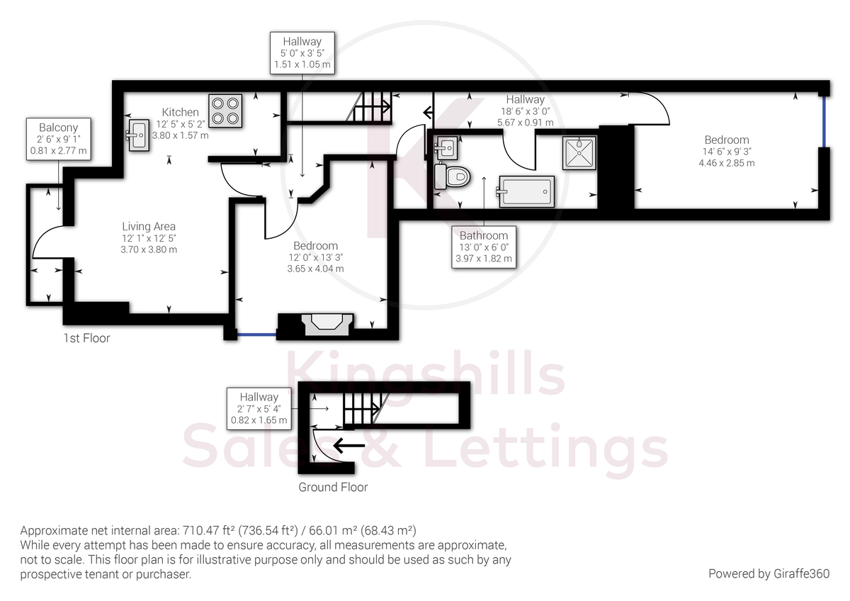 2 bed flat for sale in London Road, High Wycombe - Property Floorplan