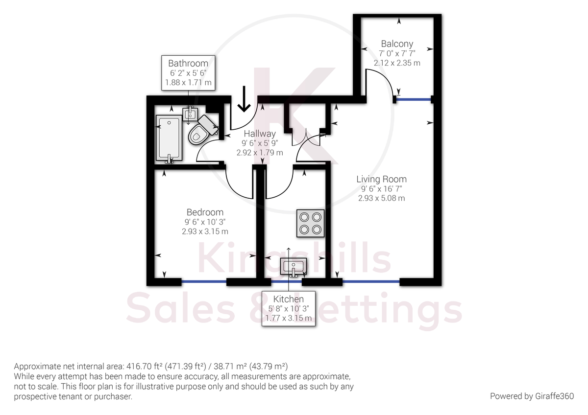 1 bed flat for sale in Kingsmead Road, High Wycombe - Property Floorplan