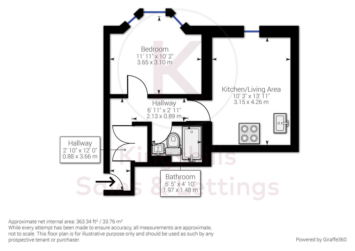 1 bed flat to rent in West Wycombe Road, High Wycombe - Property Floorplan