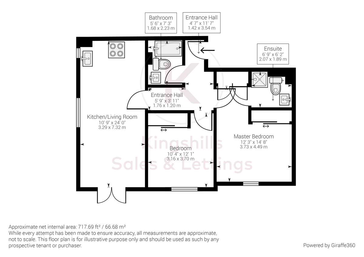 2 bed flat to rent in Kingsmead Road, High Wycombe - Property Floorplan