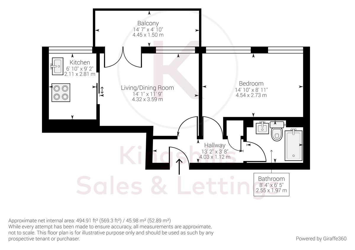 1 bed flat for sale in Westfields House, London Road - Property Floorplan
