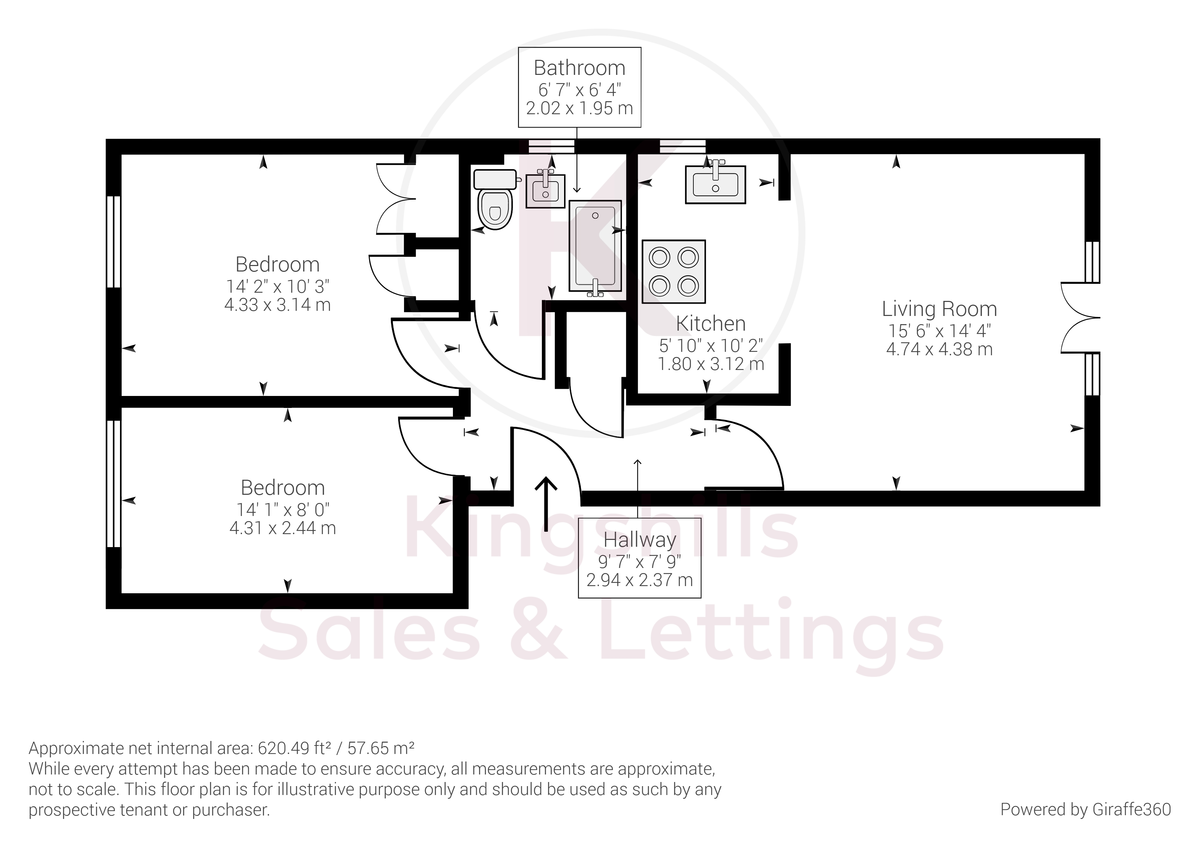 2 bed flat for sale in Micklefield Road, High Wycombe - Property Floorplan