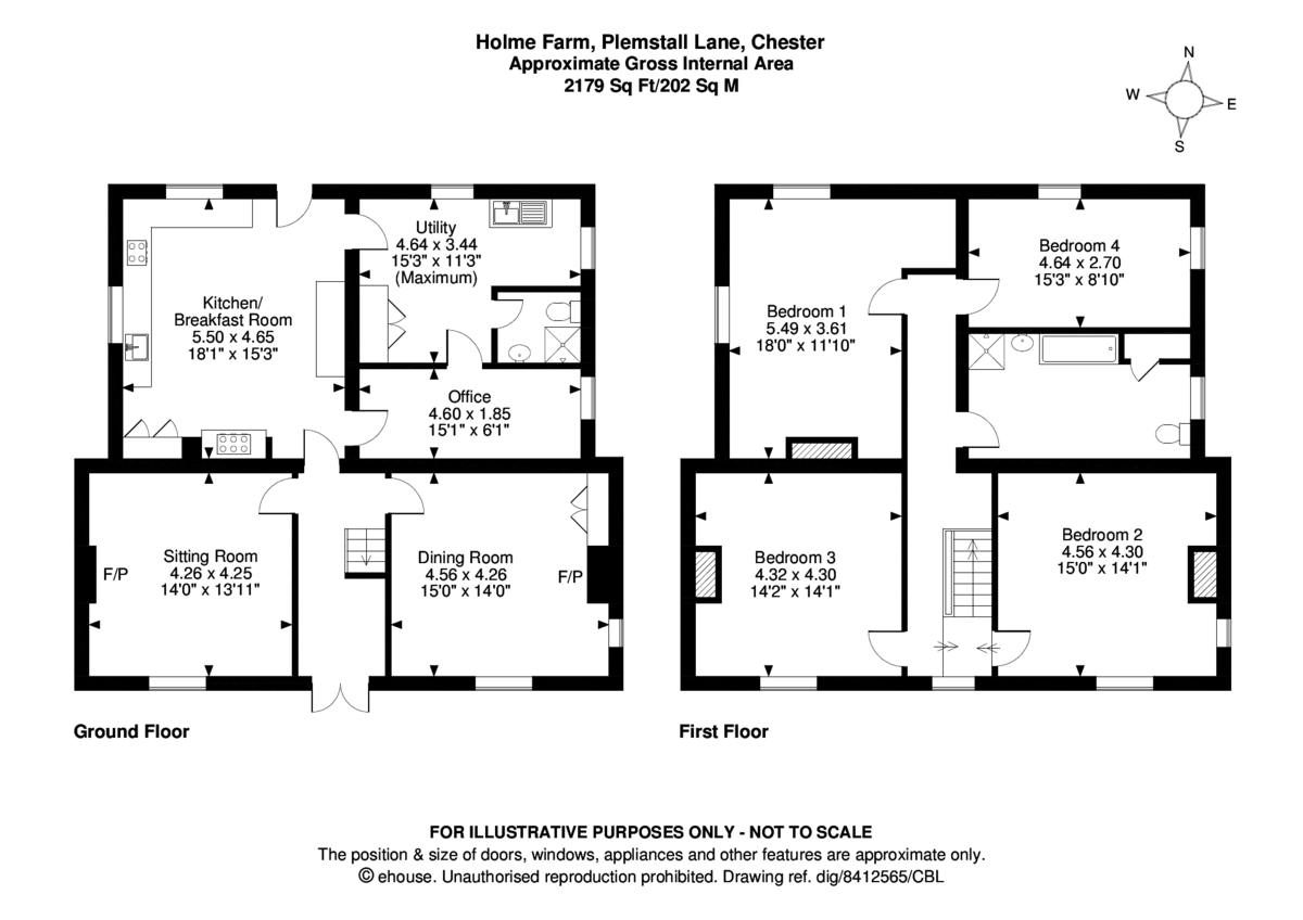 4 bed house for sale in Holme Farm, Mickle Trafford  - Property Floorplan
