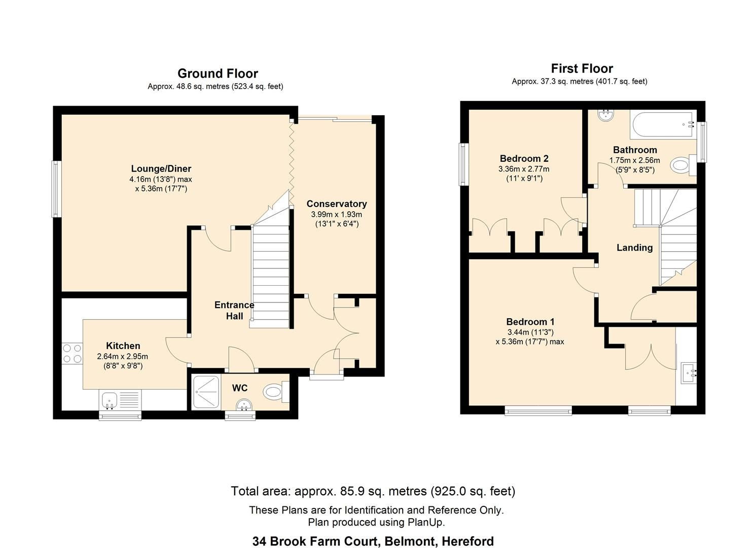 2 bed end of terrace for sale in Belmont - Property Floorplan