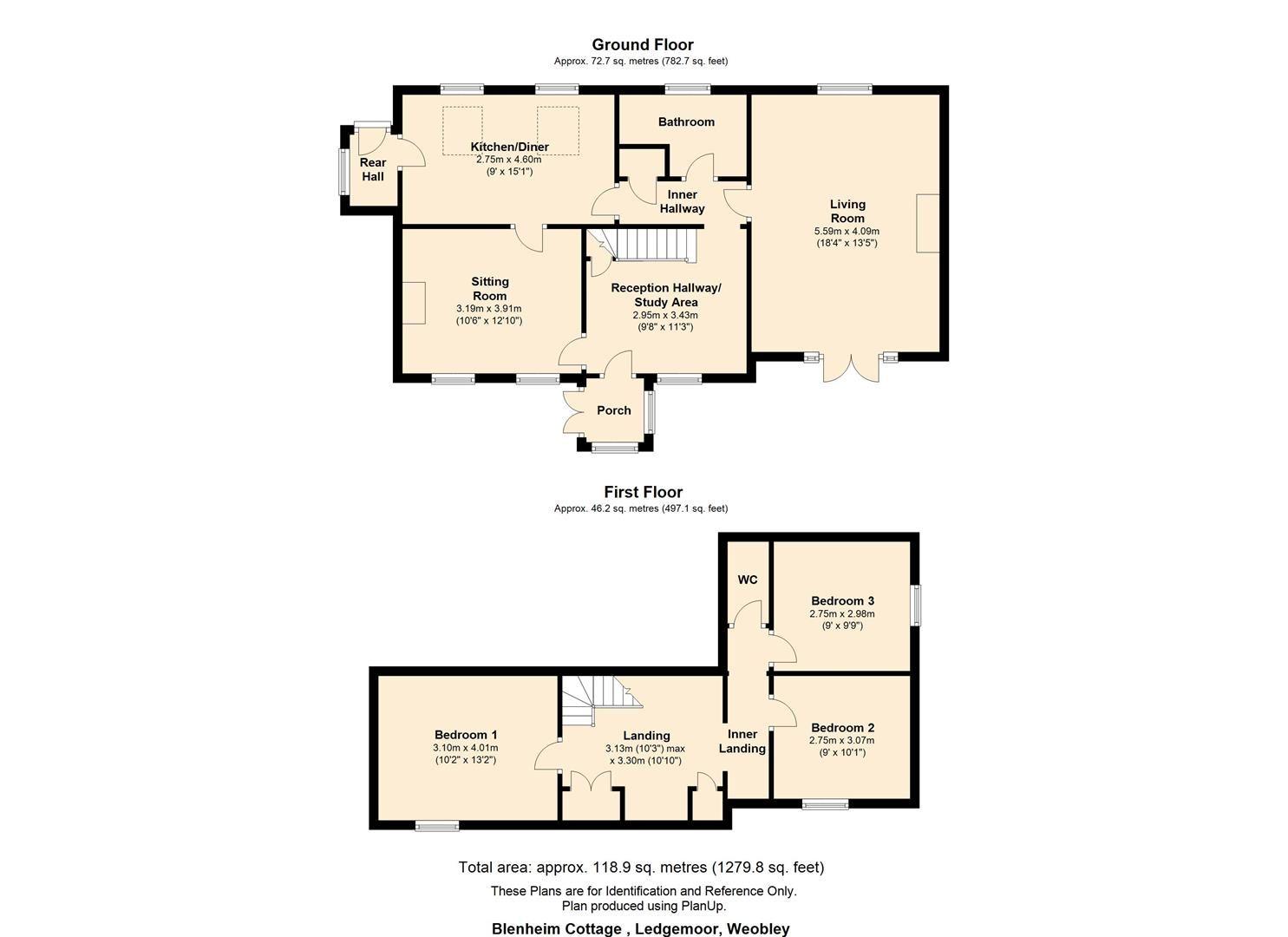 3 bed cottage for sale in Ledgemoor - Property Floorplan
