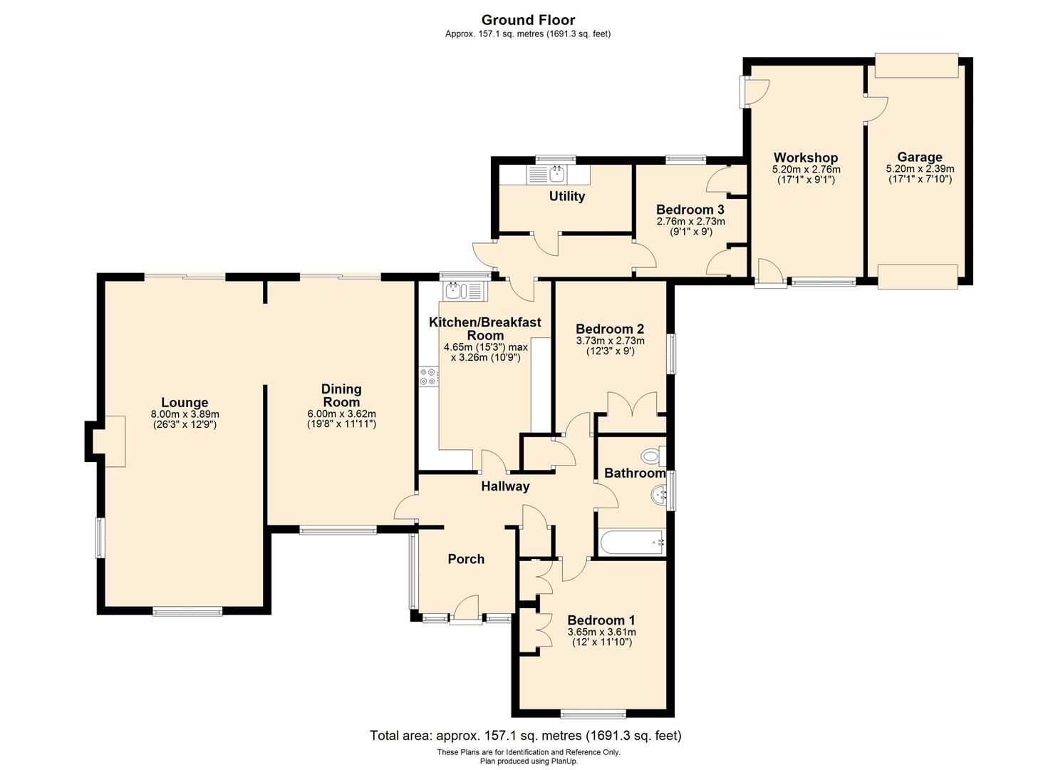 3 bed detached-bungalow for sale in Burghill - Property Floorplan