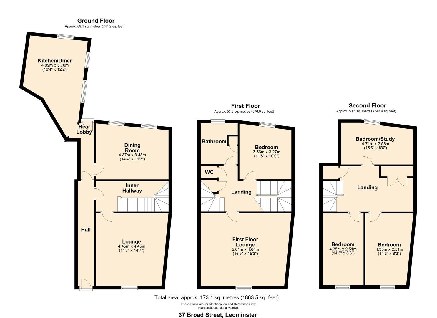 5 bed town-house for sale in Leominster - Property Floorplan