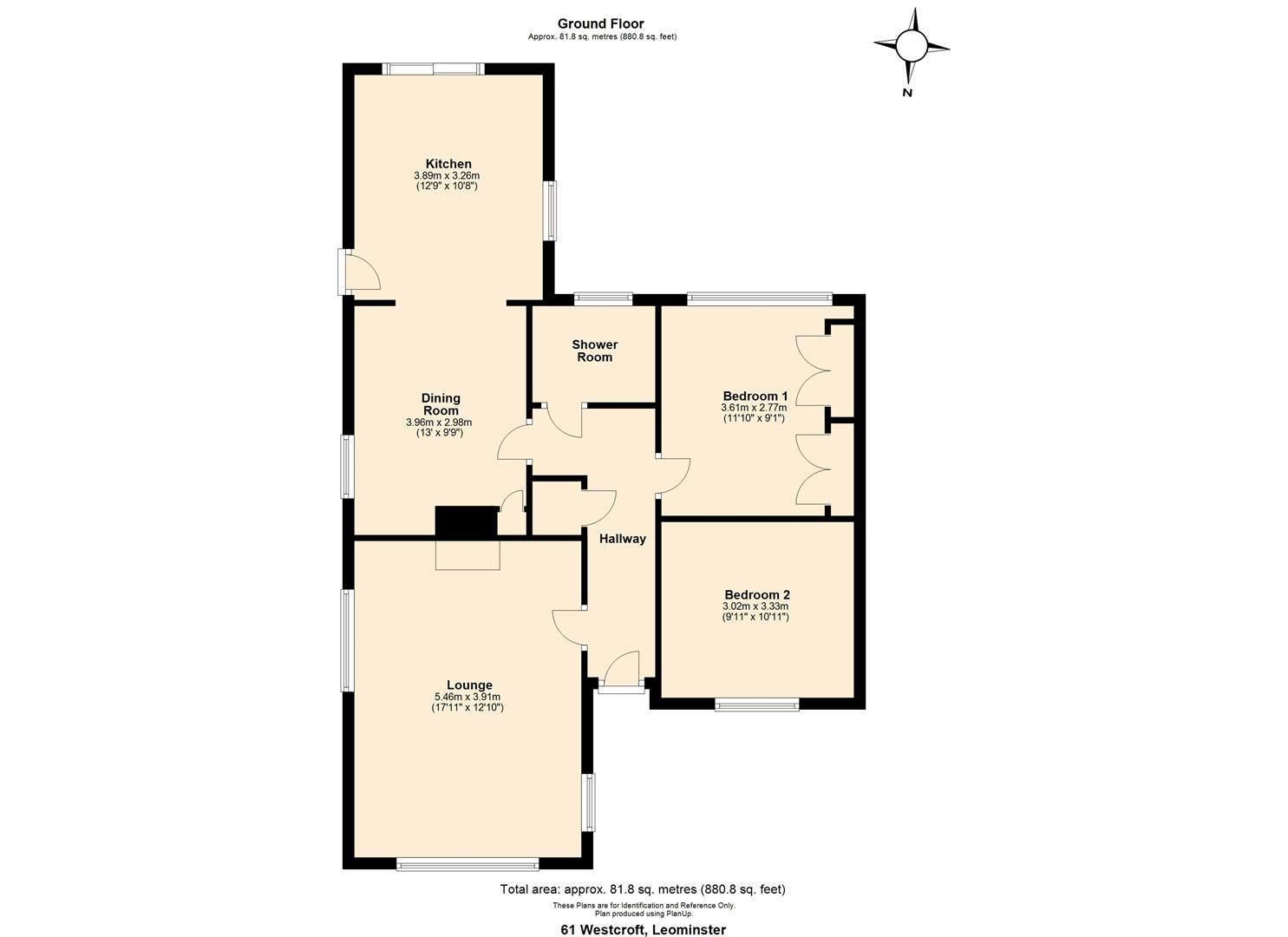 2 bed semi-detached-bungalow for sale in Leominster - Property Floorplan