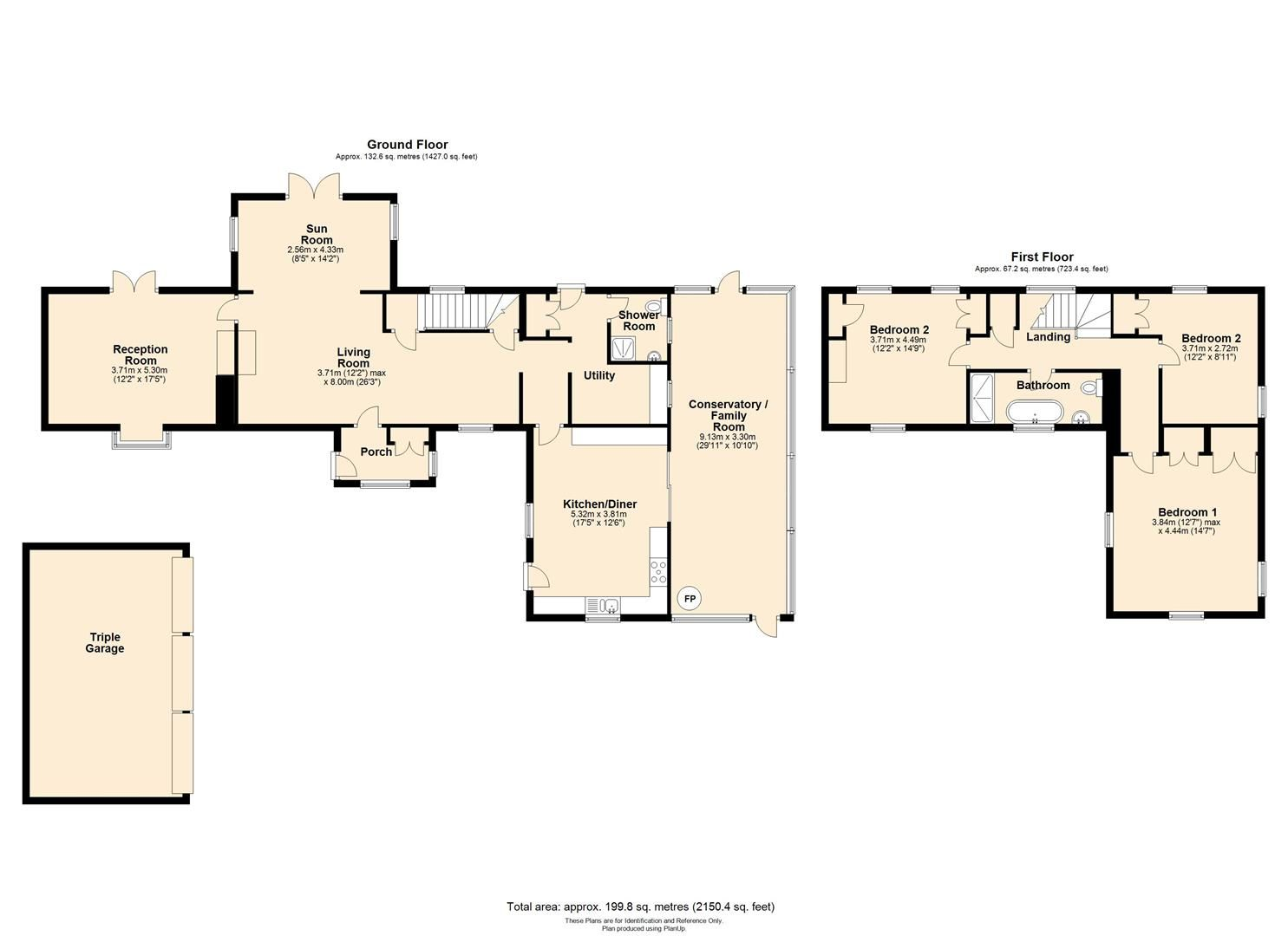 3 bed detached for sale in Orcop - Property Floorplan
