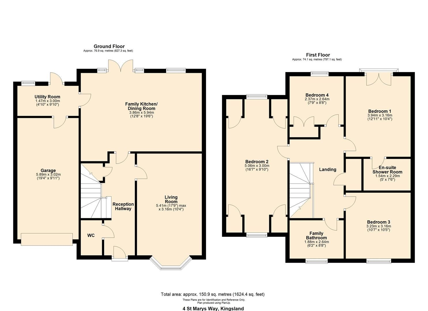 4 bed detached for sale in Kingsland - Property Floorplan