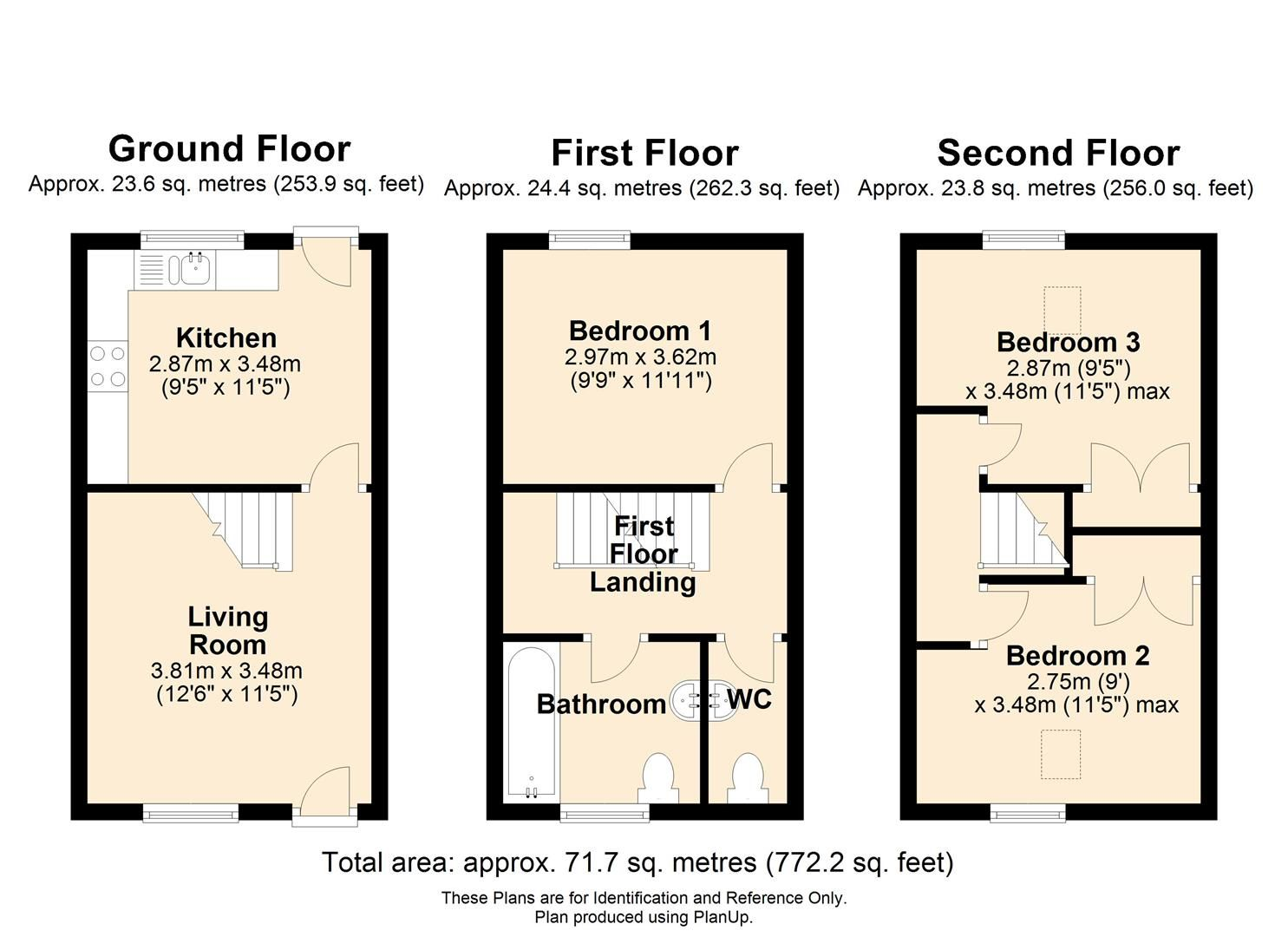 3 bed town-house for sale in Hereford - Property Floorplan