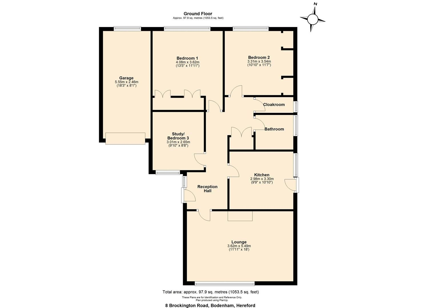3 bed detached-bungalow for sale in Bodenham - Property Floorplan
