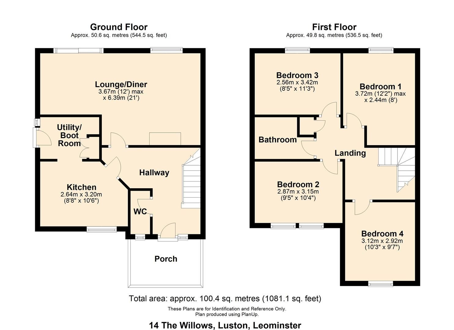 4 bed semi-detached for sale in Luston - Property Floorplan