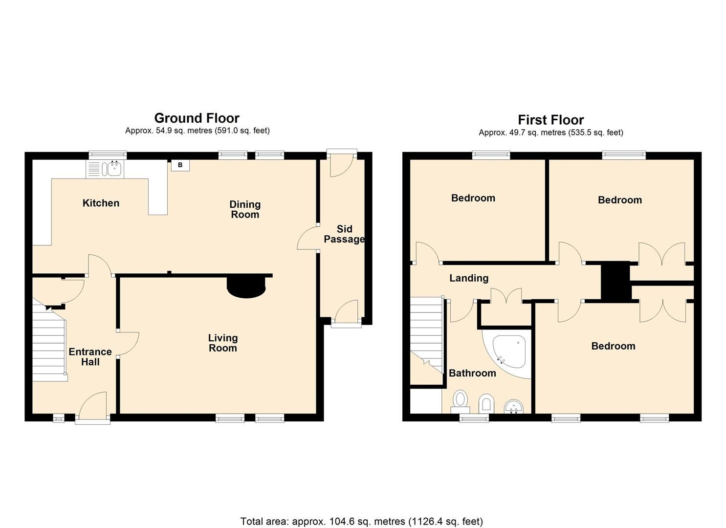 3 bed end of terrace for sale in Luston - Property Floorplan