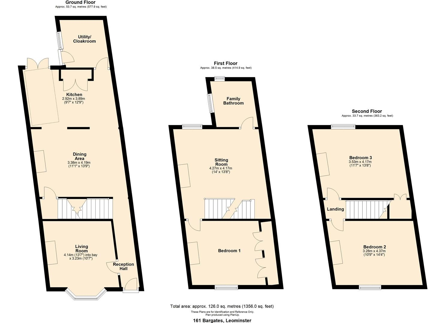 3 bed terraced for sale in Leominster - Property Floorplan