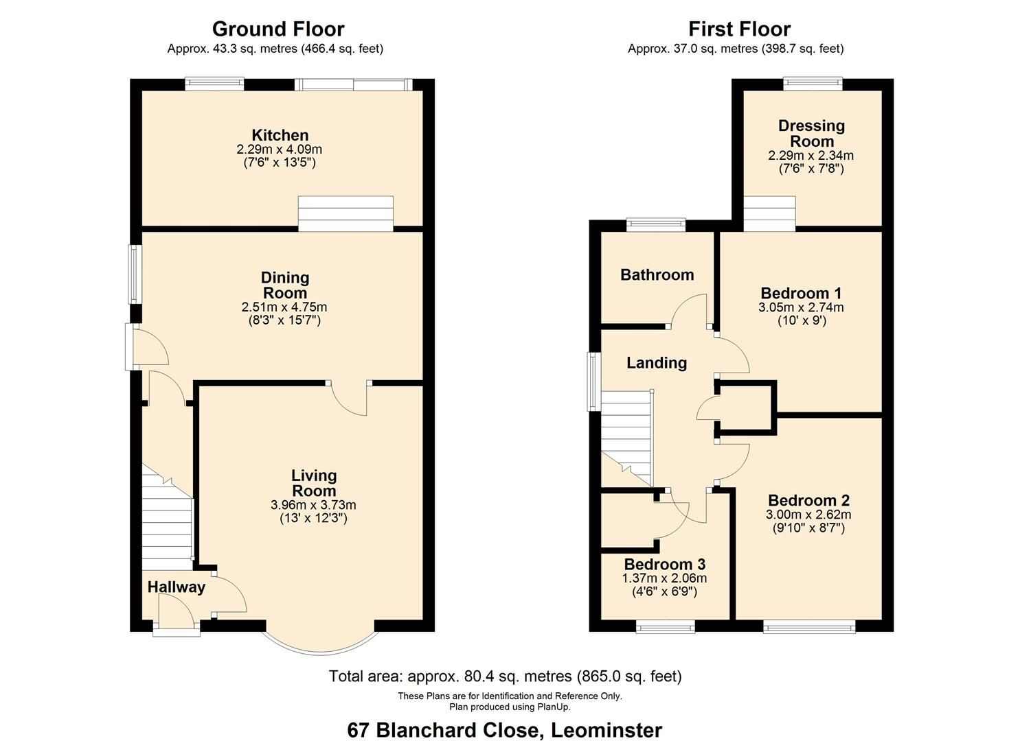 3 bed semi-detached for sale in Leominster - Property Floorplan
