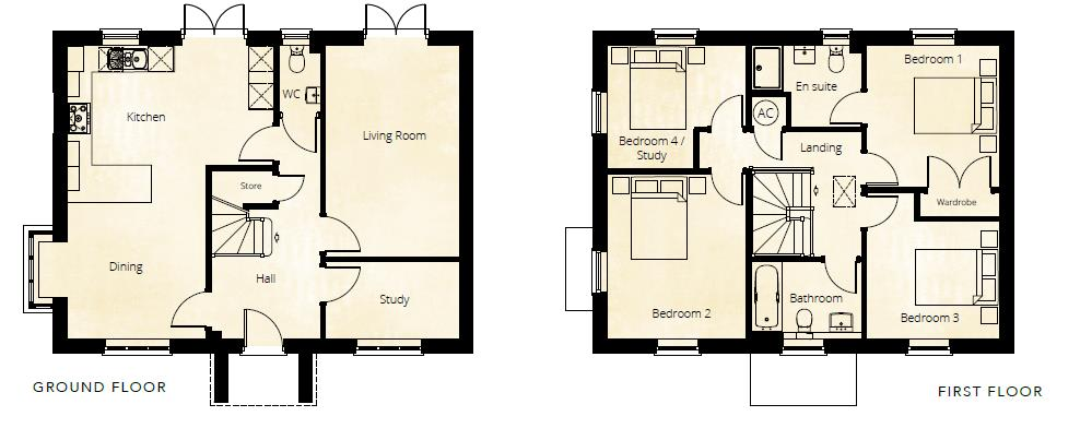 4 bed detached for sale in Kingstone - Property Floorplan