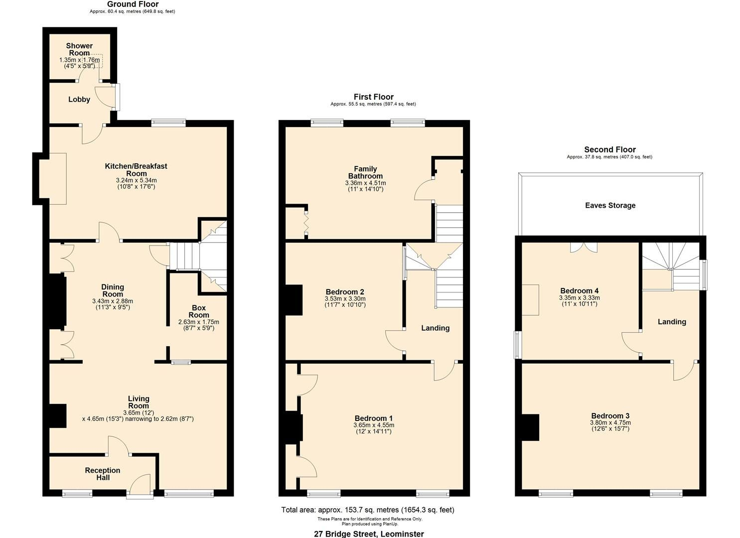 4 bed terraced for sale in Leominster - Property Floorplan