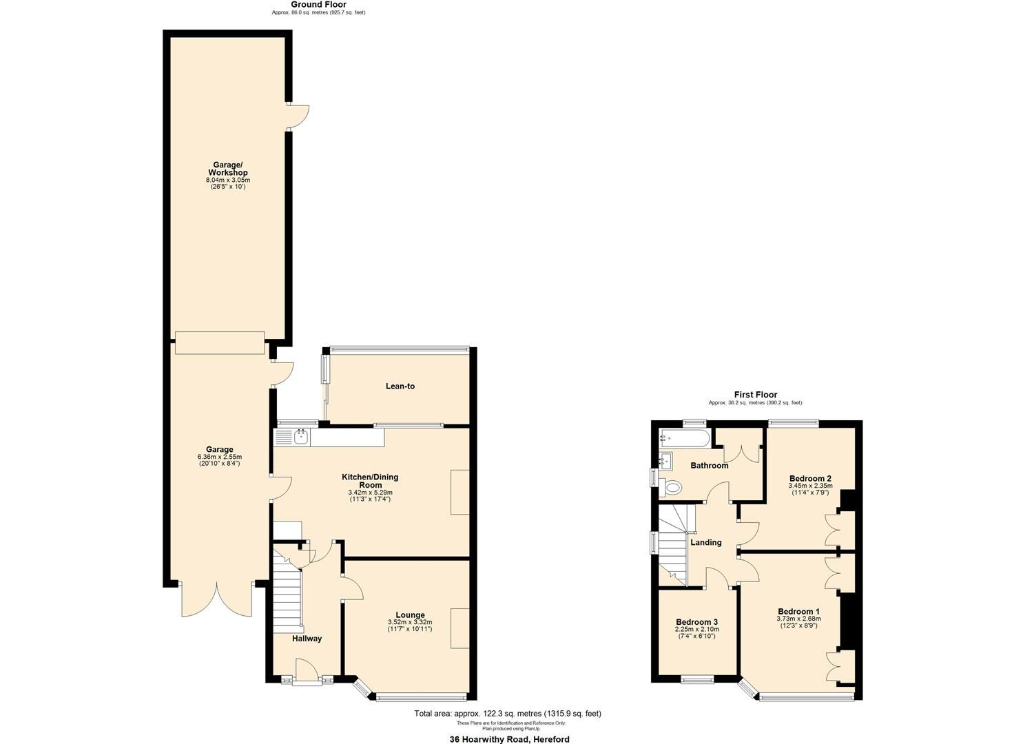 3 bed semi-detached for sale in Hereford - Property Floorplan