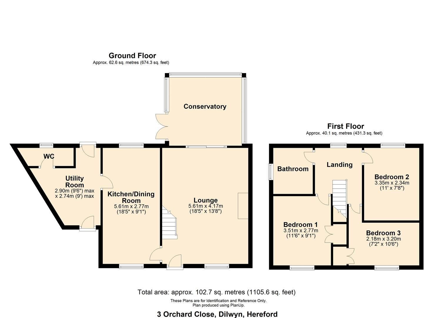 3 bed semi-detached for sale in Dilwyn - Property Floorplan